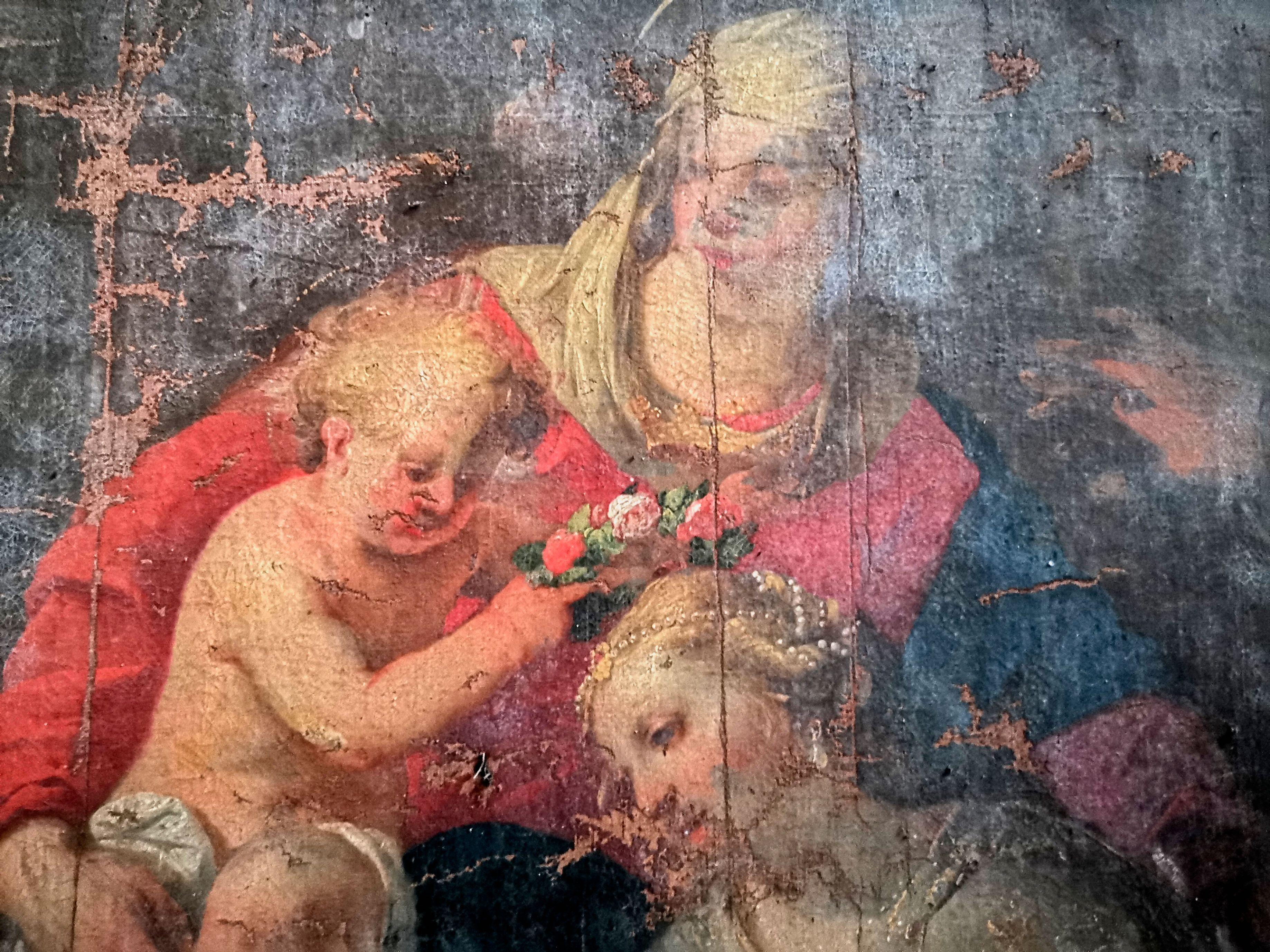 TABLEAU DE LA VIERGE À L'ENFANT COURONNANT STE CATHERINE A SOUVIGNY