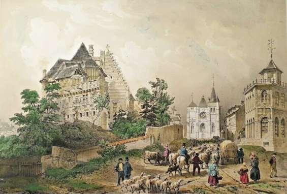 Ci-dessus : lithographie aquarellée de Charpentier, 1852. Vue vers l'église depuis la rue de Brionne. À gauche, les vestiges du Vieux château (document I. Vauquelin).