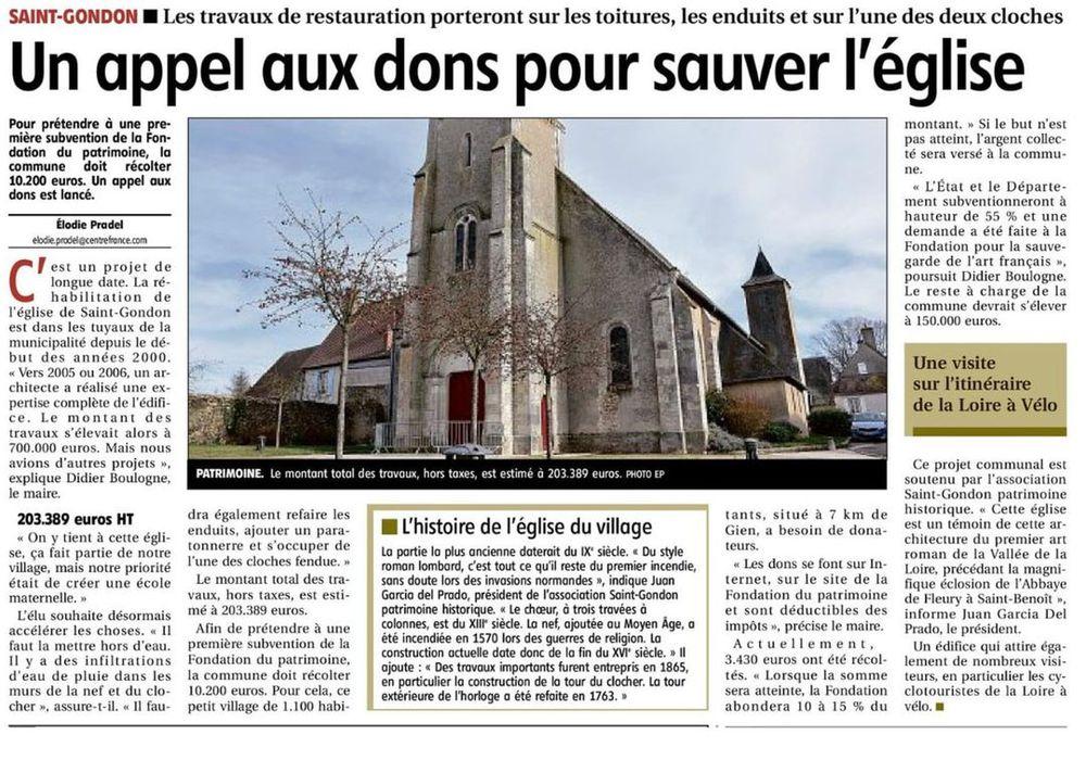 la république du centre : article sur saint-gondon