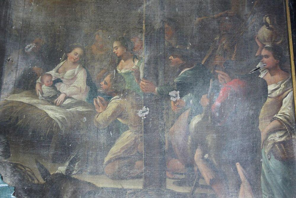 """tableau de """"la nativité"""" avant restauration"""