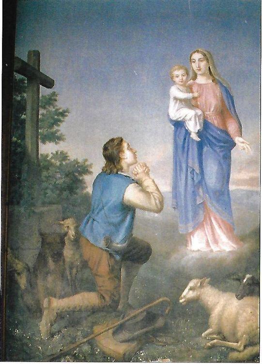 Tableau de l'apparition à Jean Paillé - Eglise de Valuéjols