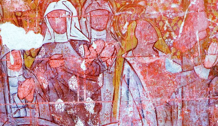 Peintures médiévales de l'église Saint-Sulpice à Banize